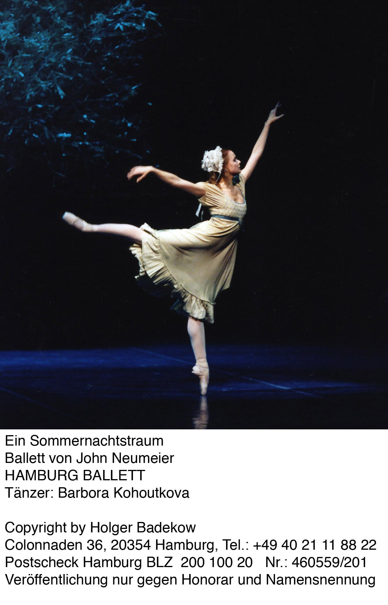 Ein Sommernachtstraum Ballett von John Neumeier  HAMBURG BALLETT Tänzerin: Barbora Kohoutkova